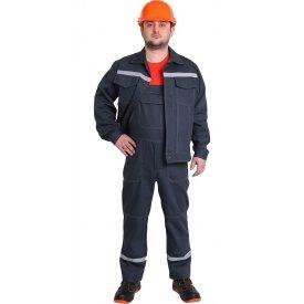 Спецодежда рабочий костюм куртка с полукомбинезоном Строитель диагональ 80% хлопка серый