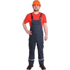 Спецодежда летний рабочий полукомбинезон Строитель саржа 80% хлопка серый