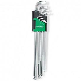 Набор ключей шестигранных с шаром TOPTUL 1,5-10 мм 9 ед супердлинных GAAL 0922