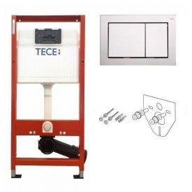 Система інсталяції для підвіного унітазу tece base 4 в 1 (інсталяція + кріплення + прокладка + кнопка хром) 9400006