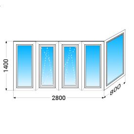 Балкон г-образный Köning А70 с однокамерным энергосберегающим стеклопакетом 1400x2800x800 мм