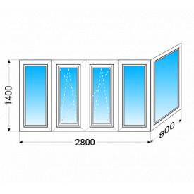 Балкон г-подібний KBE 58 з однокамерним енергозберігаючим склопакетом 1400x2800x800 мм