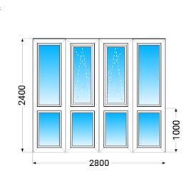 Французкий балкон Lider 58 с однокамерным энергосберегающим стеклопакетом 2400x2800 мм