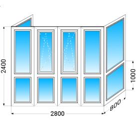 Французький балкон п-подібний WDS 6 Series з двокамерним енергозберігаючим склопакетом 2400x2800x800 мм
