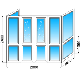 Французкий балкон п-образный KBE 58 с однокамерным энергосберегающим стеклопакетом 2400x2800x800 мм