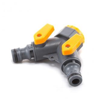 Кран кульовий Presto-PS на 2 виходи з внутрішньою різьбою 1/2-3/4 дюйма, в упаковці - 25 шт. (5002)