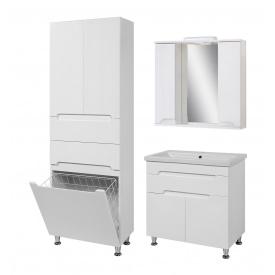 Комплект меблів для ванної кімнати Сімпл 80 з умивальником Комо 80 + пенал Сімпл 60 з кошиком