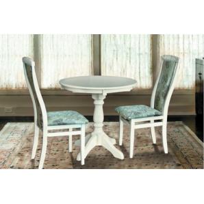 Круглий обідній стіл Чумак колір слонова кісткабілий
