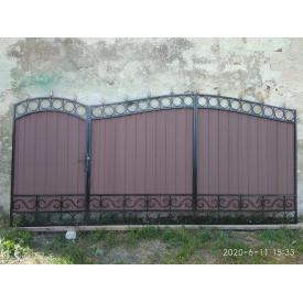 Кованые ворота с профнастиом и элементами ковки 3.40х2.0 м и калиткой 0,9х2.0 м