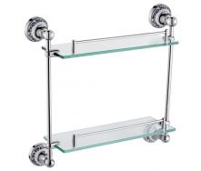 Поличка скляна 2-х поверхова срібло HI-NON