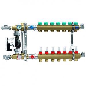 Колектор для теплої підлоги KAN з витратомірами серія 73Е на 7 виходів 7307E