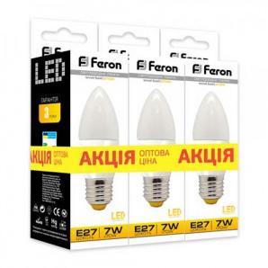 Світлодіодна лампа Feron LB-97 7 W E 27 2700 K 3 шт. в упаковці