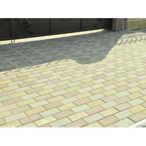 Тротуарная плитка Вавилон 5, 5 см оливковая на сером цементе