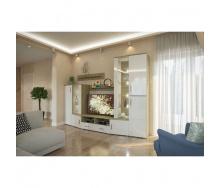 Гостиная Мир мебели Альба 2850х1980х500 дуб трюфель/белый глянец