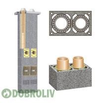 Комплект керамічного димоходу Schiedel Rondo Plus двотяговий без вентиляції 140 мм+160 мм 8 м