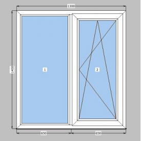 Металлопластиковое окно двухкамерное с энергосбережением WDS 5S 60 мм