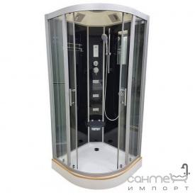 Гідромасажний бокс Veronis BN-5-100 GR профіль хром, задні стінки чорні, двері тоновані