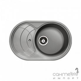 Кухонная мойка гранитная Adamant Shell 775х495х200 крыло слева 15 антрацит
