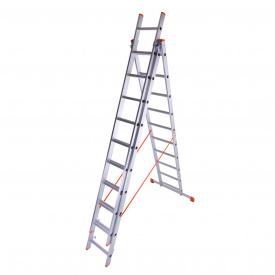 Лестница трехсекционная алюминиевая Laddermaster Sirius A3A12. 3x12 ступенек