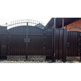 Ворота с калиткой профнастил кованые закрытые Legran