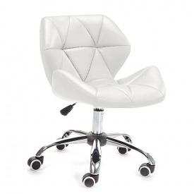 Гостевое кресло Стар Нью на колесиках хром мягкое цвет белый