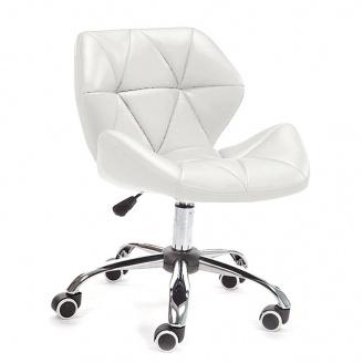 Гостьове крісло Стар Нью на коліщатках хром м`яке колір білий