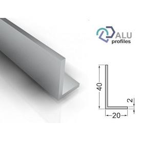 Уголок алюминиевый анодированный 6063Т5 40х20х2х6020 мм