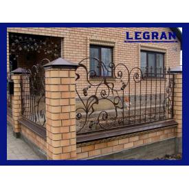 Забор металлический кованый фигурный открытый асимметрический Legran