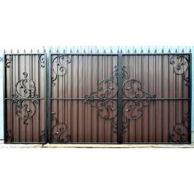 Ворота ковані з профнастилом з хвірткою Б0038пр Legran