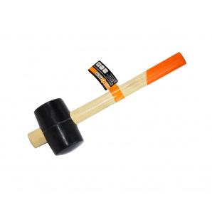 Киянка резиновая с деревянной ручкой Polax 65 мм 450 г Черная (39-005)