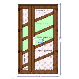 Входная дверь ламинация под дерево 1200 - 2100 мм двухстворчатая