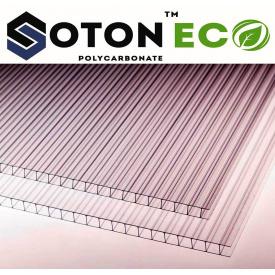 Сотовый поликарбонат ТМ SOTON ECO 6х2100х6000 мм прозрачный