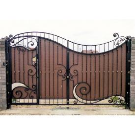 Ворота кованые с профнастилом Б0044пф с калиткой Legran