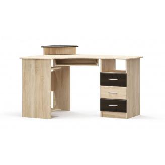 Письменный стол угловой МДФ венге темный+дуб самоа Мебель-Сервис