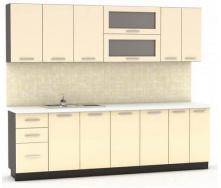 Кухня Гамма глянец 2,0 м со столешницей венге/бежевый Мебель-Сервис