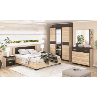 Спальня Вероніка 3Д дуб Самоа + венге темний Меблі-Сервіс
