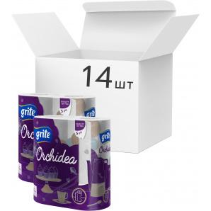 Упаковка бумажных полотенец Grite Orchidea Gold 3 слоя 65 отрывов 2 рулона 14 шт