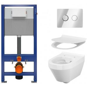 Инсталляция CERSANIT Aqua 52 QF Set B211 + унитаз Crea CleanON с сиденьем Slim Soft Close + панель смыва Accento Circle хром глянцевый