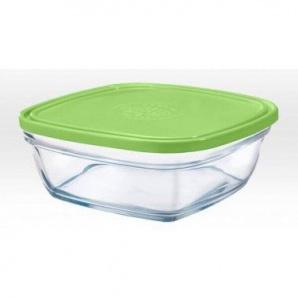 Скляний контейнер-салатник Duralex Lys Carre Frashbox з кришкою квадратний 20х20 см 2000 мл зелений