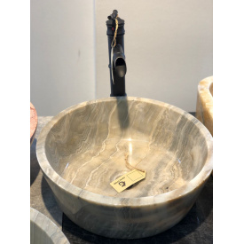 Раковина из натурального цельного Onyx Grey RO2