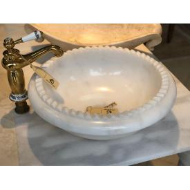Раковина из белого мрамора White M 40x40 диаметр