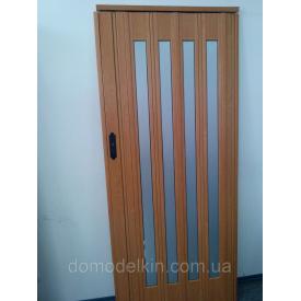 Двері гармошка засклена вишня 501 дзеркало 860х2030х12 мм
