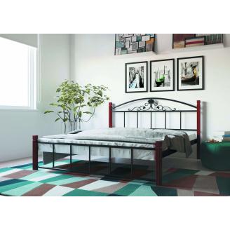 Ліжко металеве Кассандра на дерев'яних ногах 160 Метал дизайн
