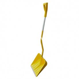 Лопата снігоприбиральна в зборі BudMonster Profi пластикова 400х400 мм з алюмінієвим наконечником і ручкою жовта BudMonster
