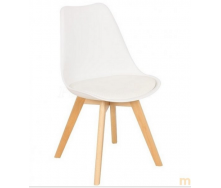 Пластиковый стул Тор белый ножки деревянные