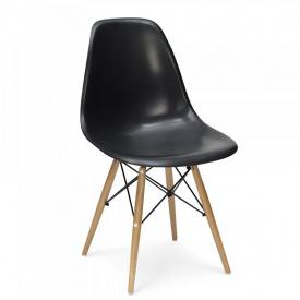 Пластиковый стул SDM Тауэр Вуд черный ножки деревянные