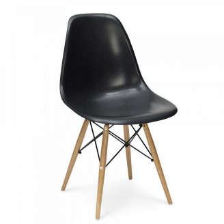 Пластиковий стілець SDM Тауер Вуд чорний ніжки дерев`яні