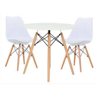Обеденный комплект Лофт №60-2 для кухни круглый стол и пластиковые стульчики