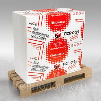 Пінопласт Преміум ПСБ-С-25 1000x1000x50мм для утеплення будинку (вага 10кг / м3)
