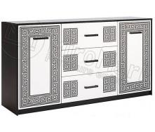Комод Віола 1.6м 2Д 3Ш білий глянець + чорний мат Миро-Марк